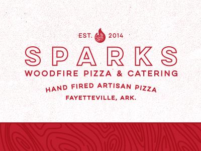 Sparks logo branding arkansas pizza vintage retro type typography woodfire brick oven
