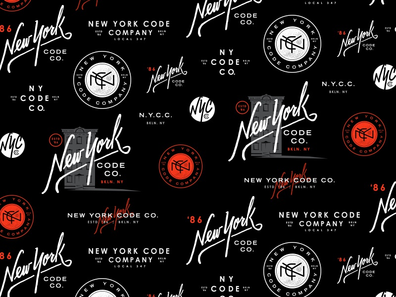 NYCC Pattern  hand lettered new york code co typography nyc pattern branding