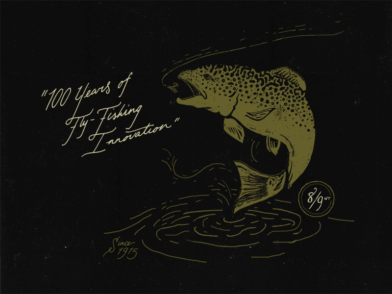 Trout  hand lettered fly fishing blkbox branding fish packaging trout