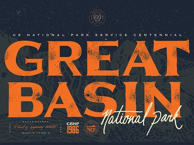 Great Basin  hand lettered national park type hike script america usnps typography lettering