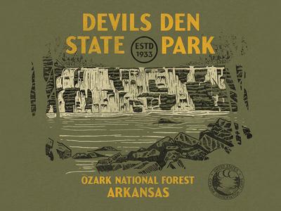 Devils Den devils den national parks state parks arkansas hiking vintage outdoors illustration shirt
