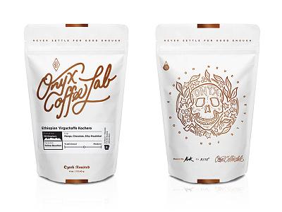 Onyx Bags typography lettering logo branding onyx coffee packaging skull