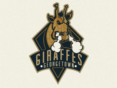 Giraffe Logo logo mascot vintage giraffe typography baseball texture navy