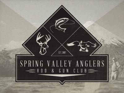 SVA logo branding typography badge identity deer duck fish black texture diamond black and white vintage retro hunting fishing fly fishing