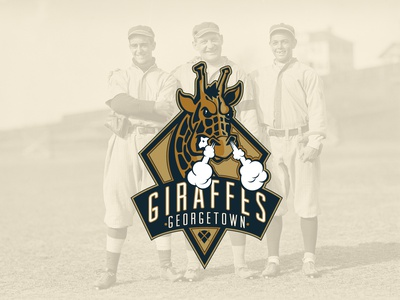 Giraffe Baseball logo typography giraffe baseball mascot brand identity blue gold vintage retro badge angry animal