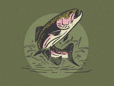 Friday Fish badge outdoors logo branding illustraion fly fishing trout fish