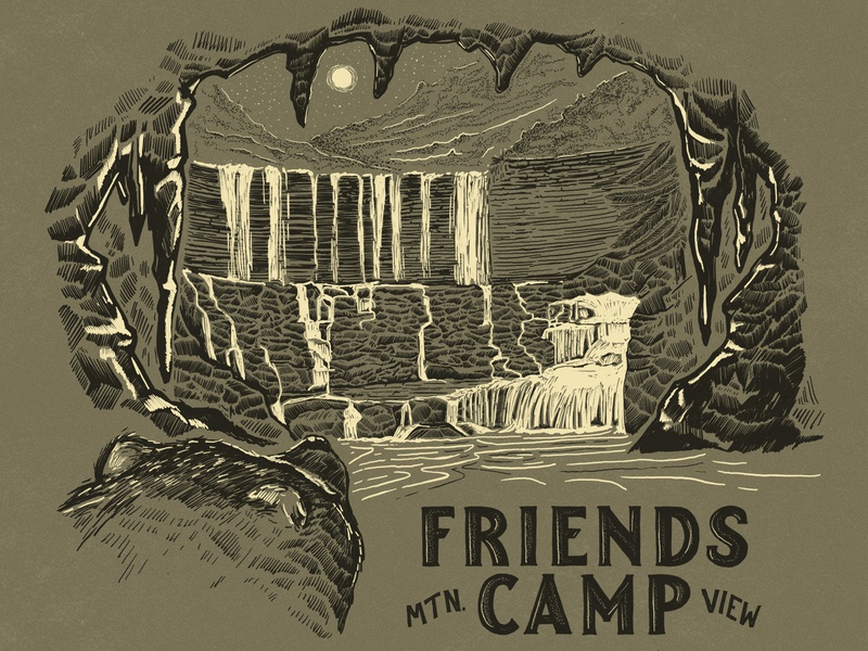FRIENDS CAMP bear camping camp parks and recreation outdoors nature illustration retro hand lettered texture