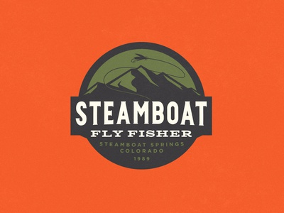 Steamboat Fly Fisher fishing fly fishing badge retro vintage texture typography branding logo