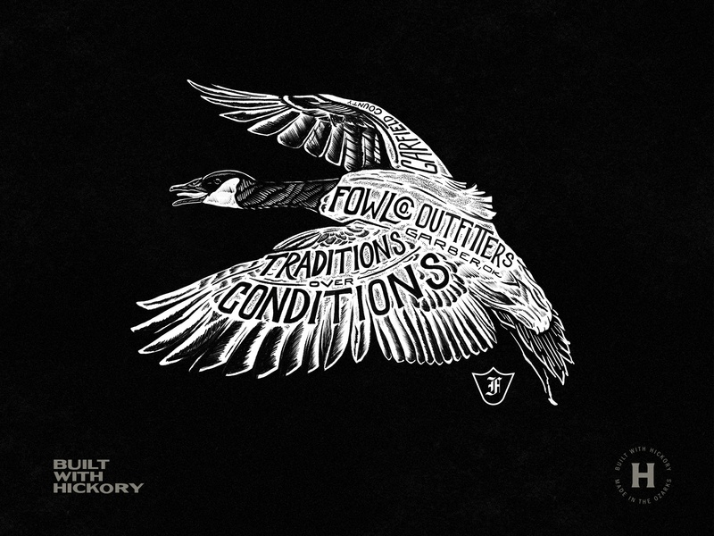 Fowlco Goose design logo illustration shirt design branding black hand lettered texture typography