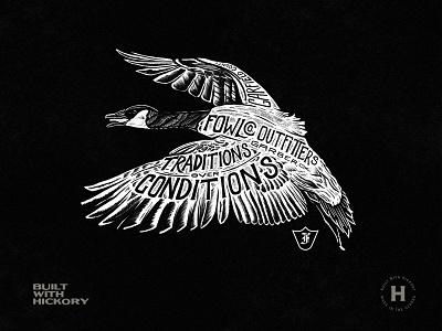 Fowlco Goose design logo illustration shirt design branding black hand lettered texture typography