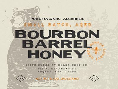Ozark Bourbon Barrel Aged Honey package design bear honey arkansas typography branding