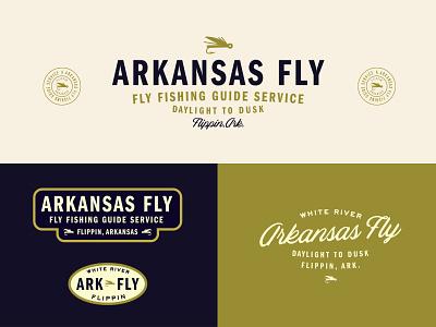 Arkansas Fly outdoor logo fishing fly fishing arkansas vintage branding typography logo
