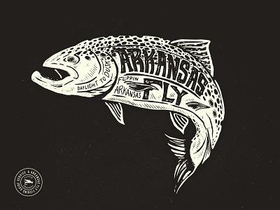 Arkansas Fly Brown texture design arkansas hand lettered vintage branding typography logo