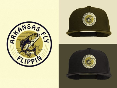 Arkansas Fly Badge Copy snapback hat design fly fishing badge illustration arkansas vintage branding logo