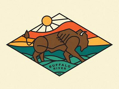 Buffalo River hickory design co buffalo badge retro illustration arkansas vintage texture