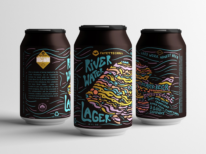 Fayettechill X OBC beer can ozarks craftbeer beer arkansas typography illustration hand lettered branding