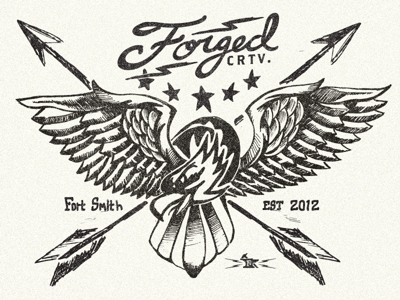 Forged Shirt forged eagle shirt logo identity texture black white americana stars arrows hand lettered illustration