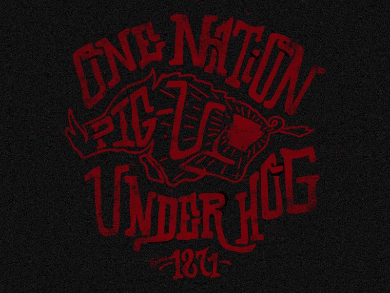 One Nation Under Hog shirt razorbacks hogs arkansas college black red texture vintage retro t-shirt type hand lettered