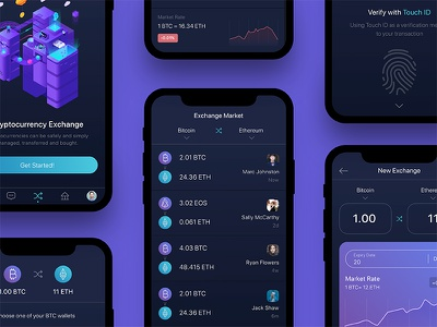 Cryptocurrency Market App ios app mobile eth btc dark purple blue market crypto ux ui