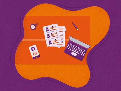Illustration for People Analytics Article 2 prasad setty table top table paperwork phone mobile laptop google hr human resources people analytics