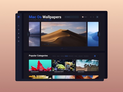 Wallpapers App - Main Page ux blue app application logo dark theme macosx macos image picture gallery category menu dashboard uidesign product typogaphy interface ui screen