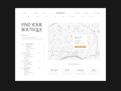 Find Your Boutique typography desktop brand pearls gold website interface ux ui jewelry search navigation map boutique