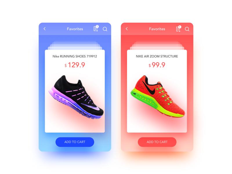 Favorites nike shoes favorites ux ui interface icon dailyui app
