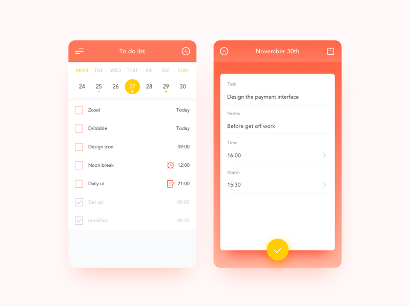 To-Do List calendar list to-do ux ui interface icon dailyui app