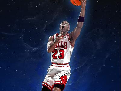 Jordan basketball sport portrait photoshop digital illustration