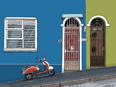 Bokaap green blue illustration moped gate wall sidewalk street scooter