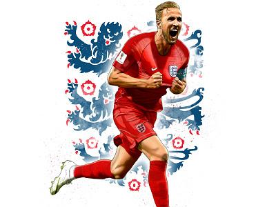 Harry Kane digital painting artwork photoshop world cup football illustration