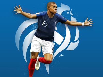 Mbappe world cup artwork sport soccer digital painting photoshop painting illustration
