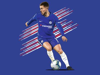 Eden Hazard hazard chelsea sport digital painting photoshop artwork football painting portrait illustration