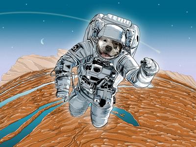 Astrodog floating space orbit pitbull dog astronaut digital painting digital illustration