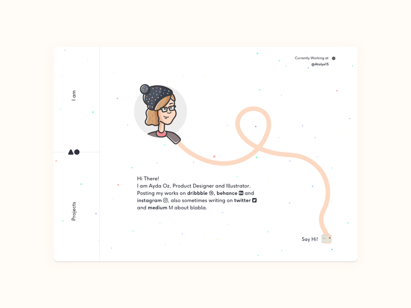 Designer's Personal Page design website freelance ui design minimal drawing color ux illustration logo ui