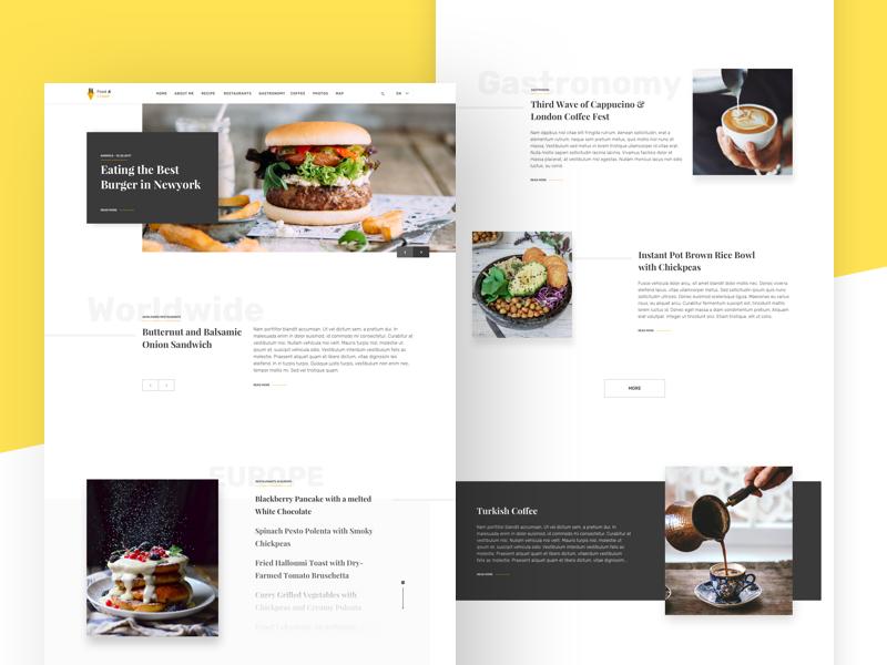 Blog Landing food blog design website freelance ui design minimal ux landing logo ui