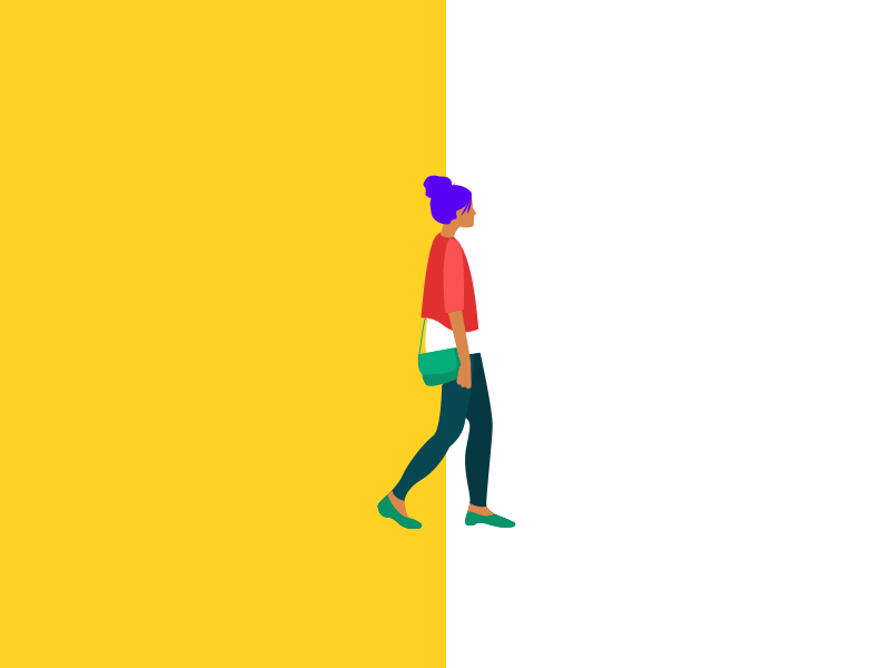 Walk day woman illustrate draw product character design freelance minimal drawing color illustration