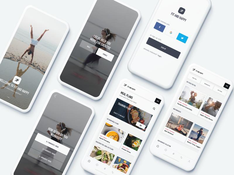 Fitness app application fitness designer minimal app web portfolio ux ui sport mockup
