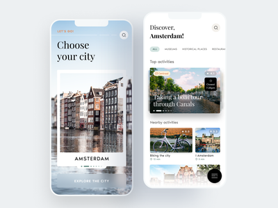 Travel & Discover listing component cards category feed activity explore location city travel application style app branding color ux ui design minimal