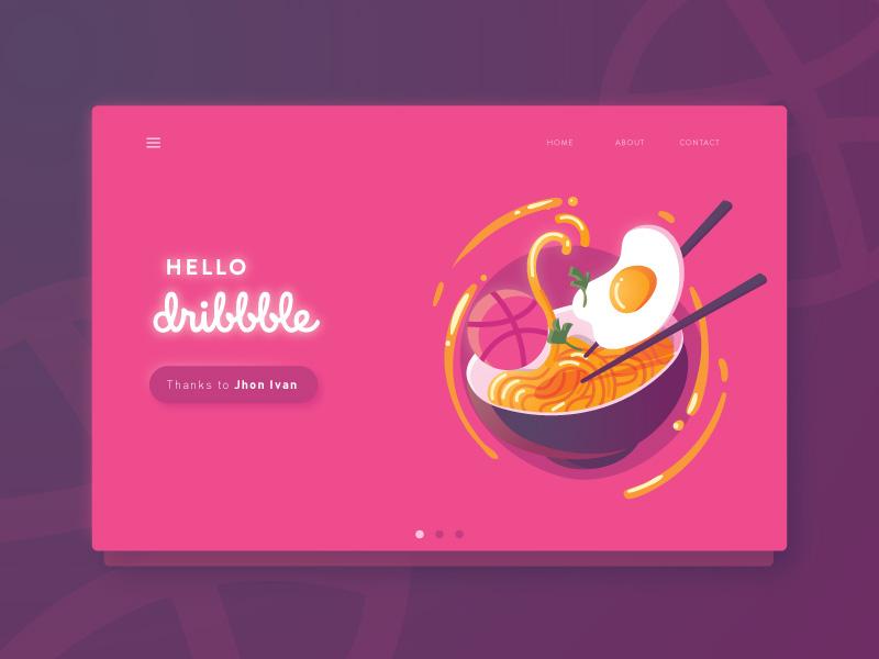 Hello Dribble web colorful vibrant food noodle ramen illustration