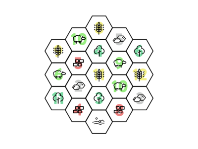 Settlers of Catan - Minimal Board board game fun game catan illustration