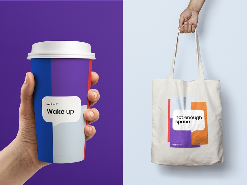 Mobiconf typography design conferences simple geometric colorful branding logo id conference