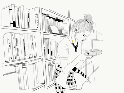 En la biblioteca apple pencil apps ipad illustrator dibujo blank and white ilustración minimal sketch illustration