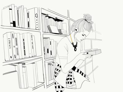 En la biblioteca apple pencil apps ipad illustrator dibujo blank and white ilustración minimal sketch illustration