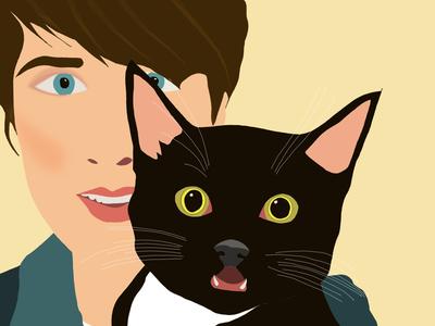 Lea sketch digital procreate ipad retrato gatos self portrait portrait pet illustration cat ilustración