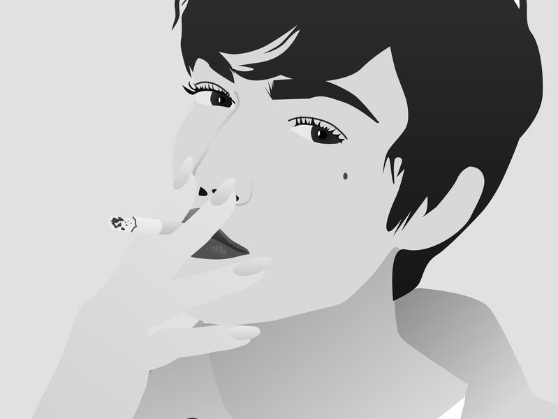 Fumando sketch app ilustracion attitude woman illustration digital design 2d illustrator drawing sketch illiustration blancoynegro ilustración