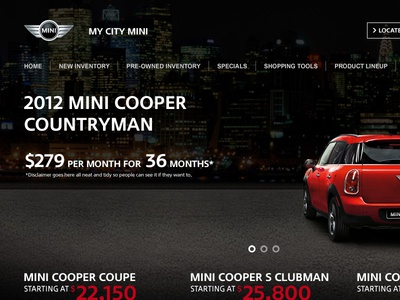 MINI Website Concept V2 website web design auto dealer cars mini car dealer