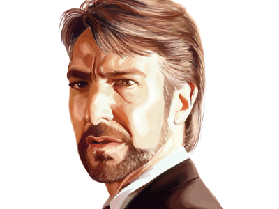 Alan Rickman tribute portrait digital art art digital tribute rip actor die hard hans gruber alan rickman illustration