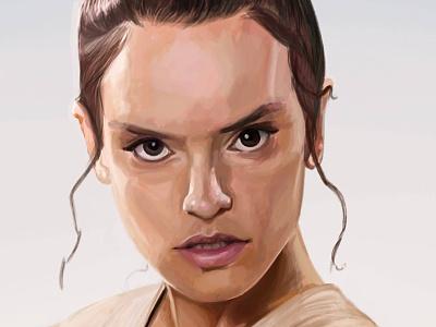Rey digital study study portrait daisy ridley star wars rey digital art illustration