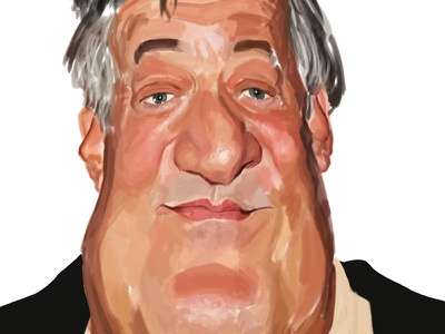 Stephen Fry caricature [work in progress] work in progress wip study painting stephen fry character caricature digital art art portrait illustration